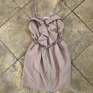 Tan Smocked Zip Up Mini Dress